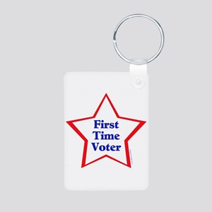 First Time Voter Star Aluminum Photo Keychain