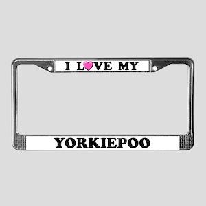I Love My Yorkiepoo License Plate Frame