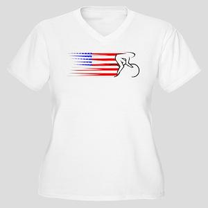 Track Cycling - USA Women's Plus Size V-Neck T-Shi