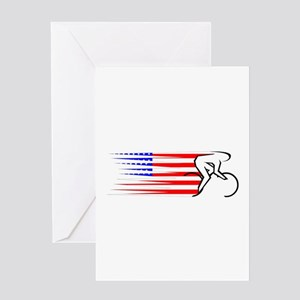Track Cycling - USA Greeting Card