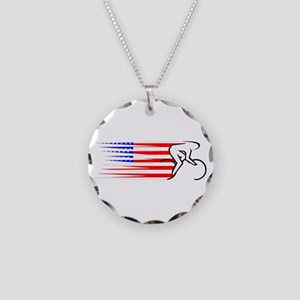 Track Cycling - USA Necklace Circle Charm