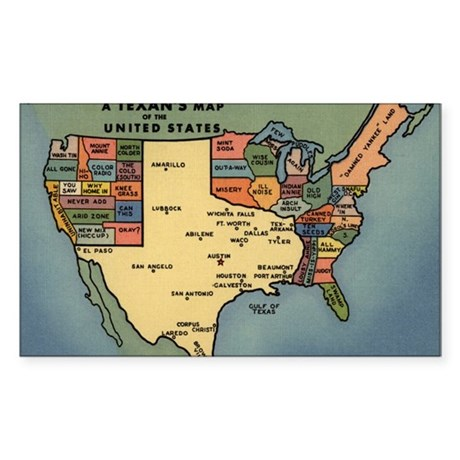 Texan's Map of the US Sticker (Rectangle)