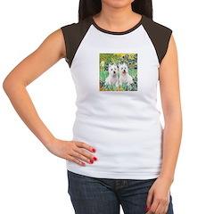 CUSTOM-Irises - 2 Westies Women's Cap Sleeve T-Shi