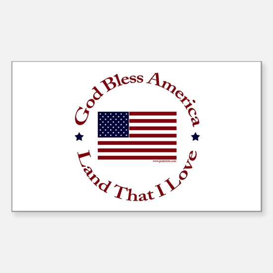 God Bless America Rectangle Decal