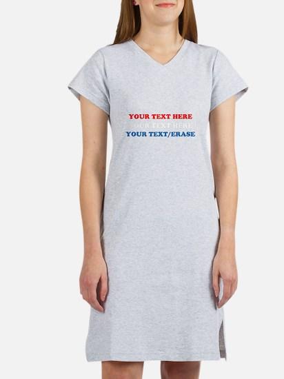 RED WHITE & BLUE CUSTOMIZED Women's Nightshirt