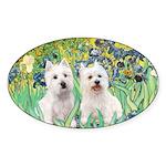 Irises-Westies 3and11 Sticker (Oval 10 pk)