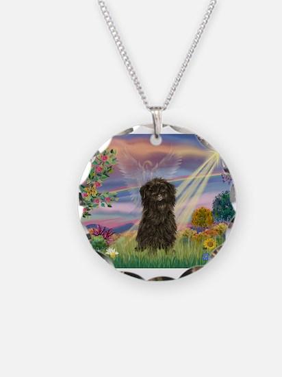 Cloud Angel & Affenpinscher Necklace
