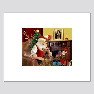Santa's Airedale (3) Small Poster