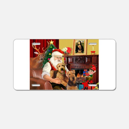 Santa's Two Airedales Aluminum License Plate