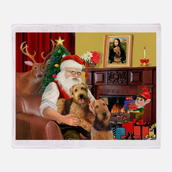 Santa's Two Airedales Throw Blanket
