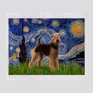 Starry Night Airedale (1) Throw Blanket