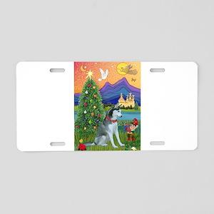 Alaskan Husky Christmas Aluminum License Plate