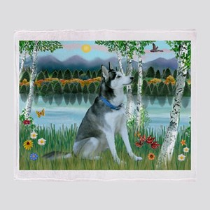 Alaskan Husky in the Birches Throw Blanket