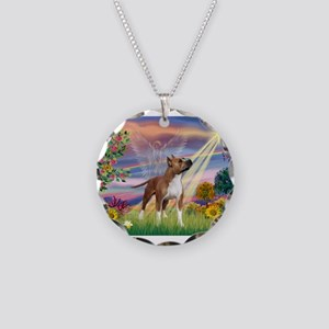 Cloud Angel & Amstaff Necklace Circle Charm