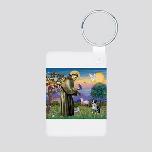 St Francis/Aussie Cat Dog Aluminum Photo Keychain