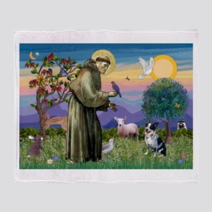 St Francis/Aussie Cat Dog Throw Blanket