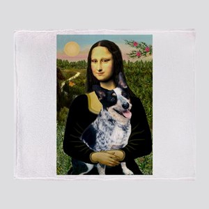 Mona Lisa/Cattle Dog Throw Blanket