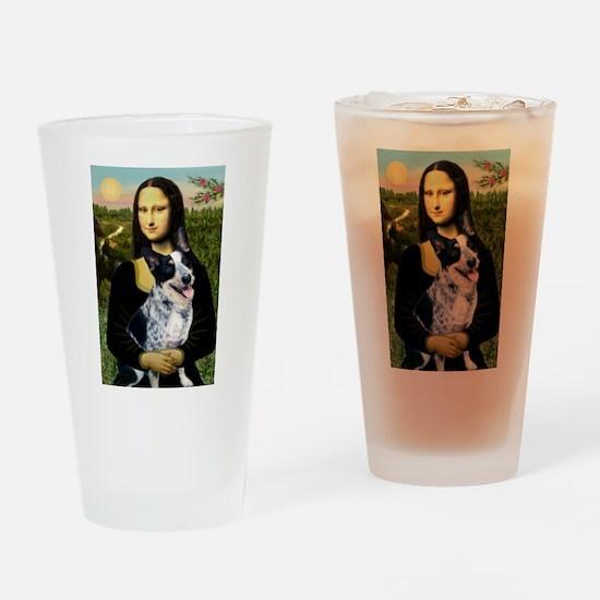 Mona Lisa/Cattle Dog Drinking Glass