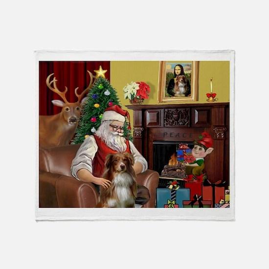 Santa's Aussie (RW4) Throw Blanket