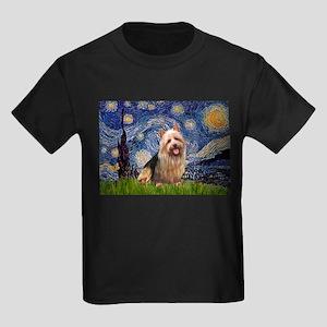 Starry Night Aussie Terrier Kids Dark T-Shirt
