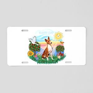 Happy Day Basenji Aluminum License Plate