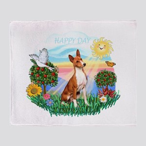 Happy Day Basenji Throw Blanket