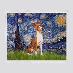 Starry Night & Basenji Throw Blanket