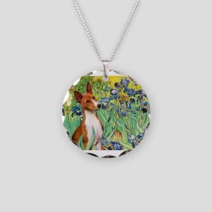 Basenji in Irises Necklace Circle Charm