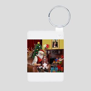 Santa's Basset Hound Aluminum Photo Keychain
