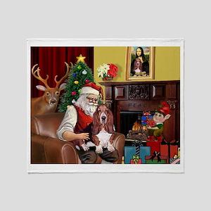 Santa's Basset Hound Throw Blanket
