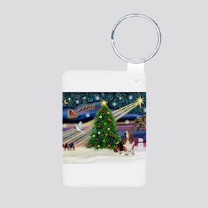Xmas Magic - Basset Aluminum Photo Keychain