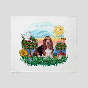 Happy Day Basset Throw Blanket