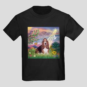 Cloud Angel & Basset Kids Dark T-Shirt