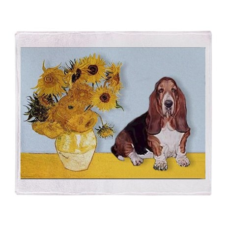 Sunflowers & Basset Throw Blanket