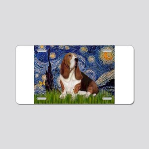 Starry Night Basset Aluminum License Plate