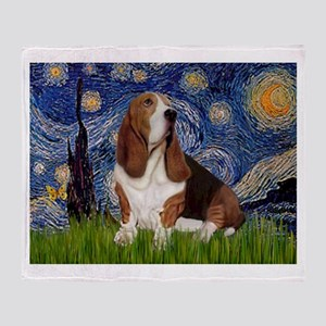 Starry Night Basset Throw Blanket