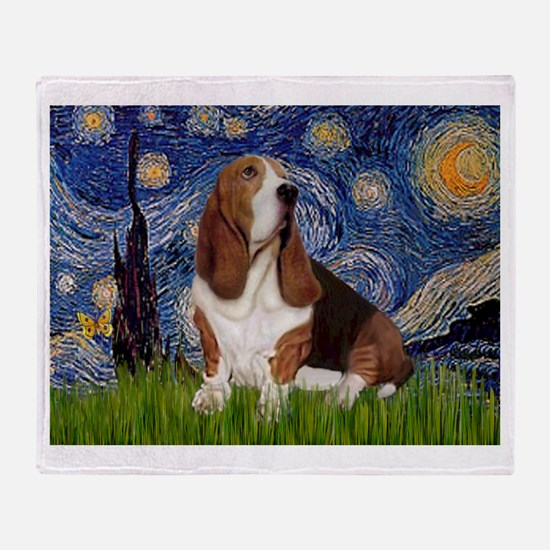 Starry Night Basset Throw Blanket