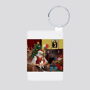 Santa's Beagle Aluminum Photo Keychain