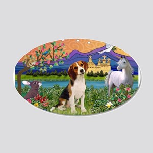 Fantasy Land & Beagle 20x12 Oval Wall Decal