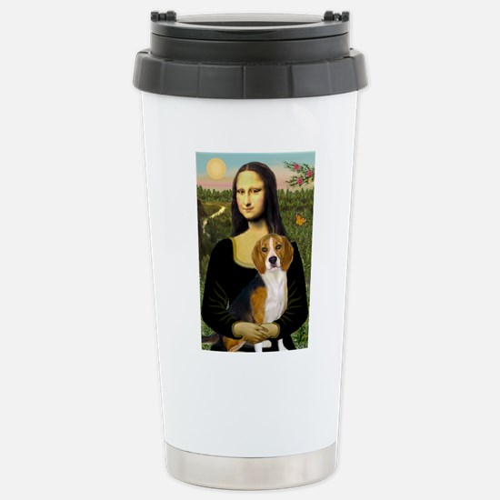 Mona Lisa & Beagle Stainless Steel Travel Mug