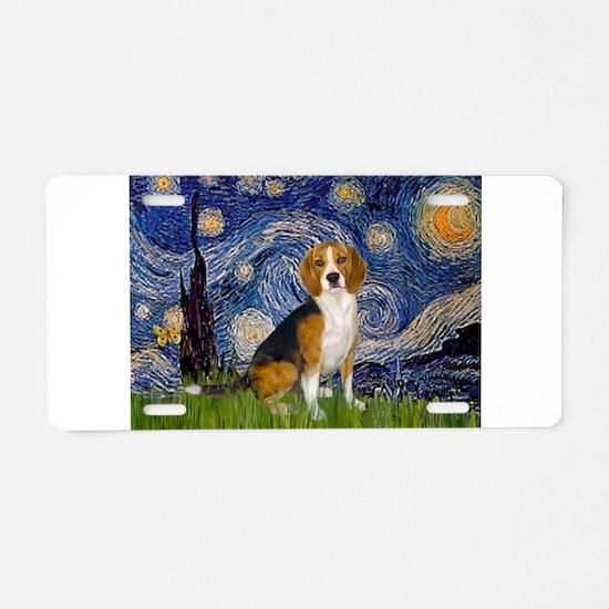 Starry Night & Beagle Aluminum License Plate
