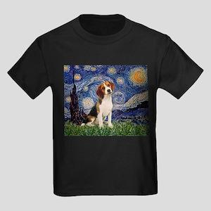 Starry Night & Beagle Pup Kids Dark T-Shirt