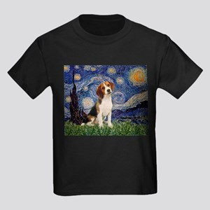 Starry Night & Beagle Pup Kids Dark T-Shirt