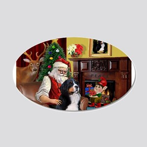 Santa's Home & Bernese 20x12 Oval Wall Decal