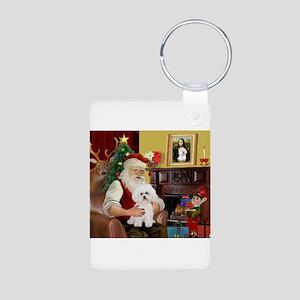 Santa's Bichon Frise Aluminum Photo Keychain