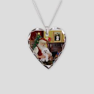 Santa's Bichon Frise Necklace Heart Charm