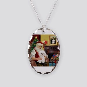 Santa's Bichon Frise Necklace Oval Charm