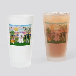Easter Bichon Frise Drinking Glass