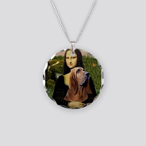 Mona & her Bloodhound Necklace Circle Charm