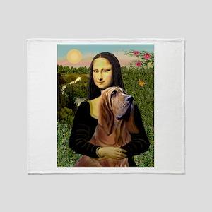 Mona & her Bloodhound Throw Blanket